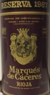 Maques de Caceres 1987 Etikett