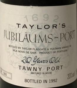 Taylor Jubi Port 1992 Etikett