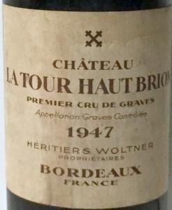 La Tour Haut Brion 1947 Etikett